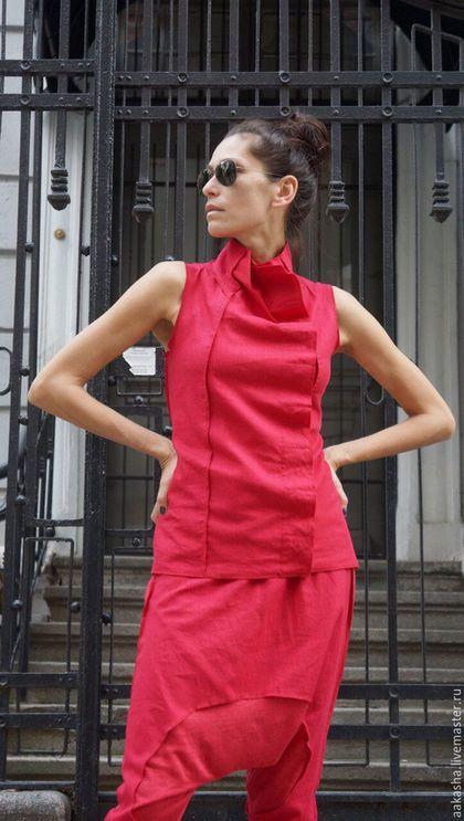 Жилет из льна красный жилет яркая одежда сочный красный льняная одежда дизайнерский жилет