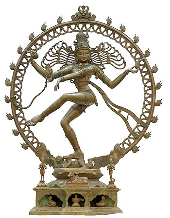 #shiva dancing statue - dancing the universe into creation & destruction; creating harmony in meditation. The ring of fire depicts the cosmos coming into being.