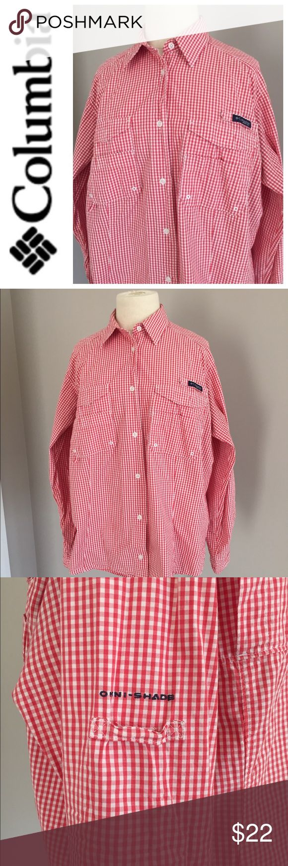 Women's Columbia PFG Long Sleeve Shirt XL This Columbia PFG Omni Shade red checked long sleeve shirt is perfect for hiking and fishing. XL. Preowned and in good clean condition. Check out my closet to save on bundles . Reasonable offers accepted. Columbia Tops