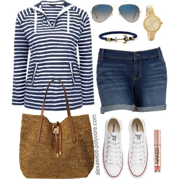 Plus Size - Weekend Casual by alexawebb on Polyvore featuring Old Navy, Converse, Michael Kors, MARC BY MARC JACOBS, Ray-Ban, Urban Decay, outfit, plussize, plussizefashion and alexawebb