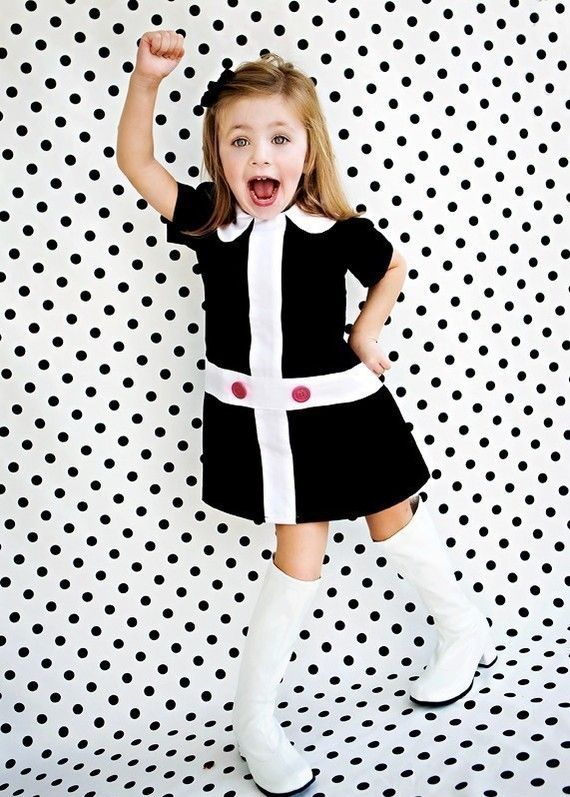 This is TOO CUTE... I need a little girl! - Mod 1960's style Retro Lauren black and white by faithworks4u, $48.00