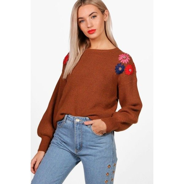 Boohoo Zoe Floral Bead Embroidery Knit Jumper ($46) ❤ liked on Polyvore featuring tops, sweaters, embroidered top, floral tops, floral print tops, floral jumper and knit jumper sweater