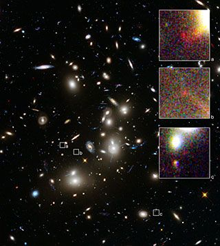 "it's crazyyyy how we can see other galaxies good enough to discern them with out eyes. you can even see a spiral galaxy that looks like our milky way supposedly does. sooo trippy. soo much space.  "" Abell 2744 and three images of a distant galaxy 