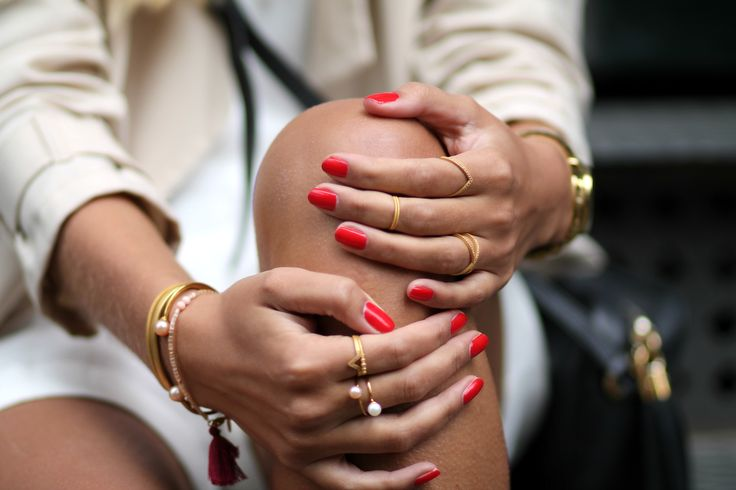 Details. Red nails and jewelry from Maanesten. See more on natulia.com