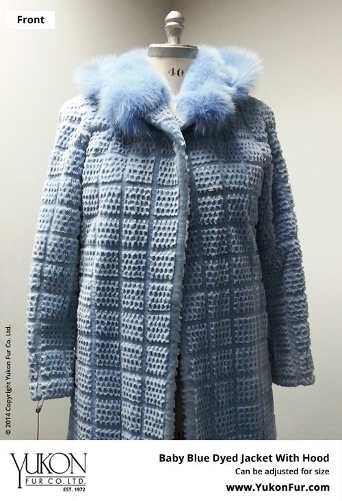 Baby Blue Dyed Jacket With Hood  $9,180.00  Size: 12 Lining: B  Can be adjusted for size  http://www.yukonfur.com/wp/product/1098-baby-blue-dyed-jacket-with-hood  For details call +01.416.598.3501 or email Chris, chris@yukonfur.com