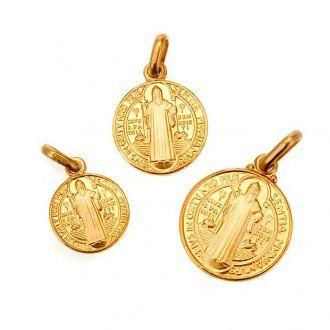 Medaglietta croce San Benedetto oro 18K | vendita online su HOLYART