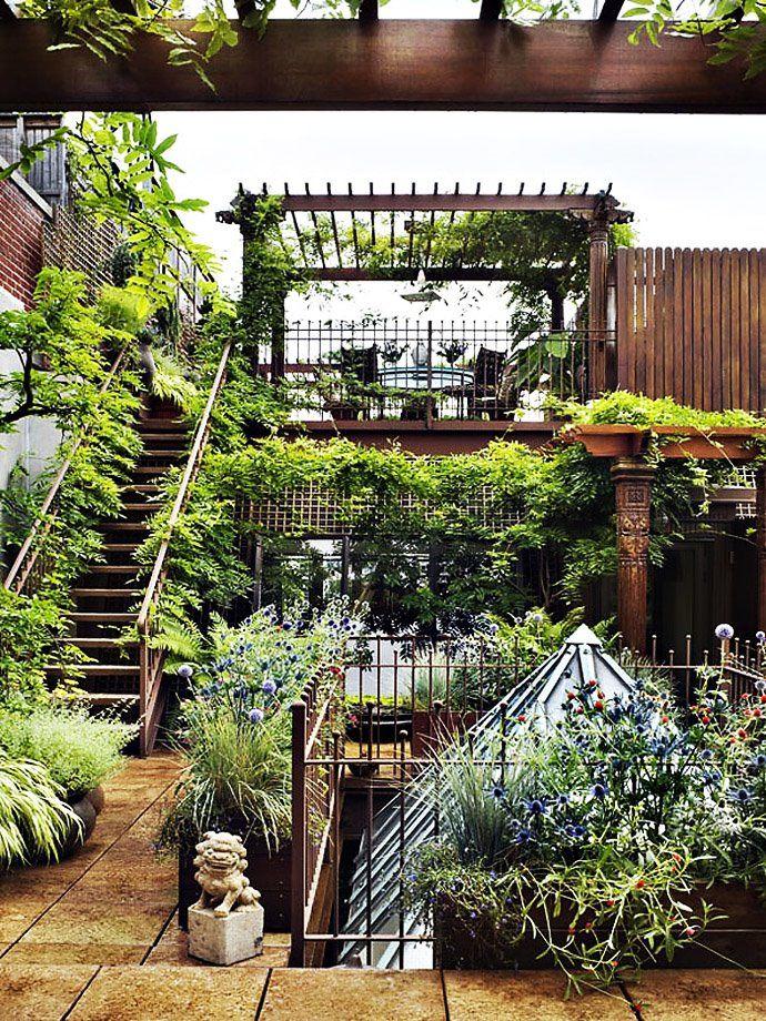Um jardim na cobertura.