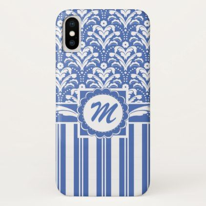 Blue and White Retro Floral Damask Monogrammed iPhone X Case - monogram gifts unique custom diy personalize