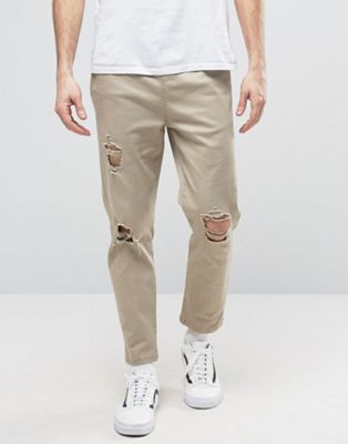 ASOS Slim Cropped Chino Joggers With Knee Rips In Stone
