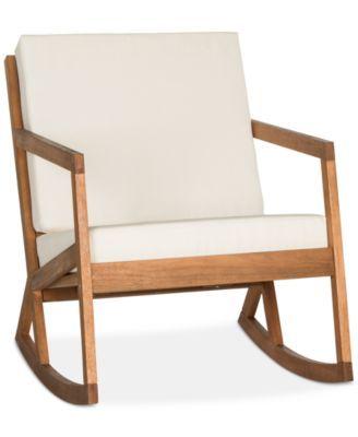 Nicksen Outdoor Rocking Chair, Quick Ship   Teak Brown/Beige