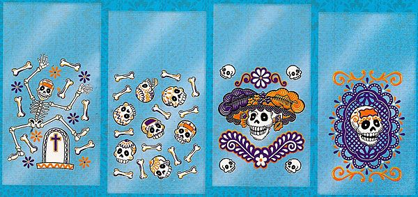 4 blue decorated day of the dead cello treat bags $8 per 25 bags