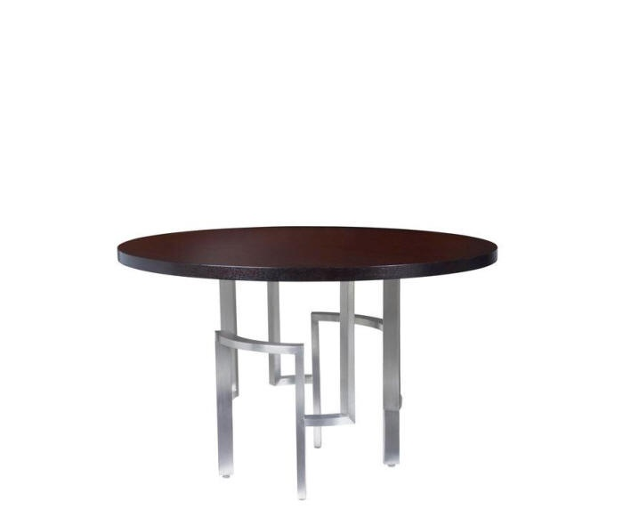 The Stella Dining Table By Allan Copley Designs Is Modern And Stylish With  Polished Stainless Steel Metal Base And Walnut Wood Top
