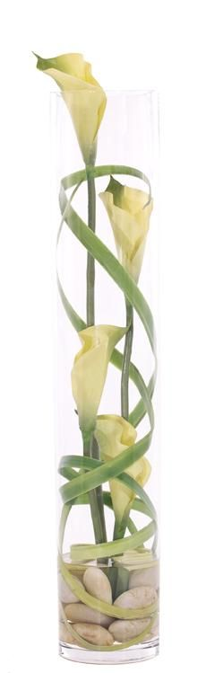 Natural Decorations, Inc. - Lily Calla Grass Green | Glass Cylinder