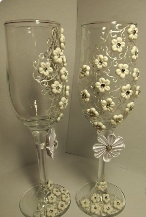 wedding glasses manual handmade work -polymer clay