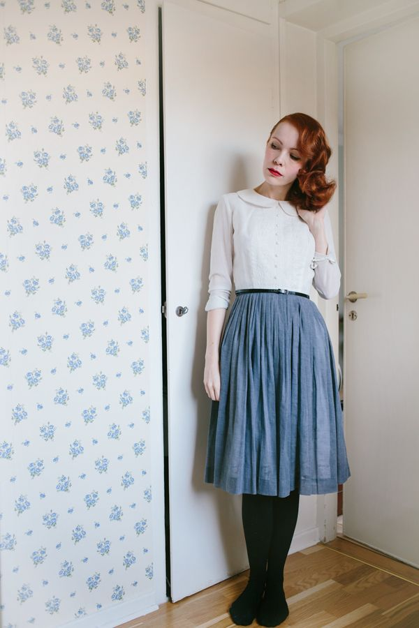 Love the flattering circle skirt - too bad the Peter Pan collar blouse is a bit harder to pull off!