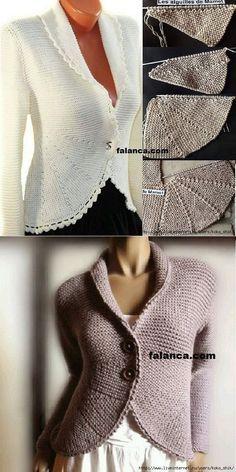 Вязание спицами - Жакет с полочками частичным вязанием