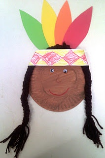 paint a small paper plate brown. cut out feathers and small strip of white paper to make the headband. decorate headband. add braids made from yarn.