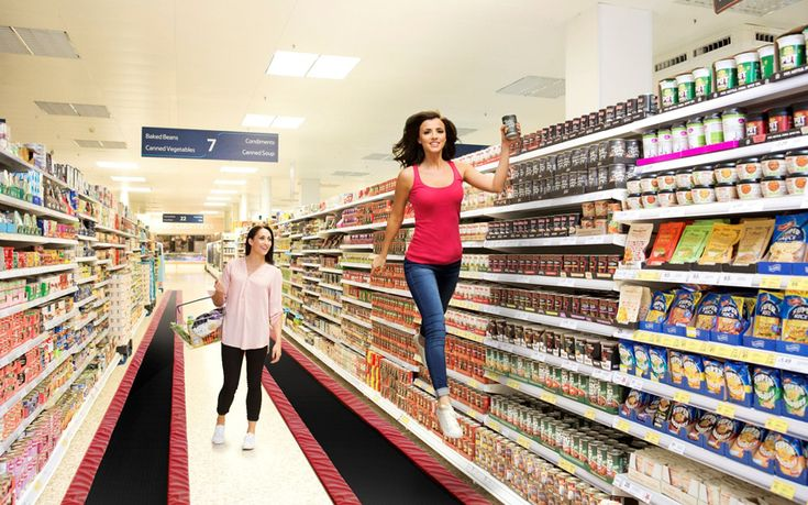 Shoppers will soon have their weekly shop taken to a whole new level of fun as Tesco takes a leap forward in revolutionising the shopping experience with the introduction of trampoline inspired bouncy aisles, which will help people reach the top shelves more easily. Lucy Mecklenburgh, ex-TOWIE favourite and star of the BBC's gymnastics show Tumble, has worked with the supermarket to help develop and quality test the bouncy aisles, as well as providing trampoline training to Tesco colleagues.