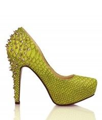 Green Dragon - Womens green snake studded platform high heels $169.00 #shoeenvy #shoes #fashion #instalove #pretty #ethical #glamorous