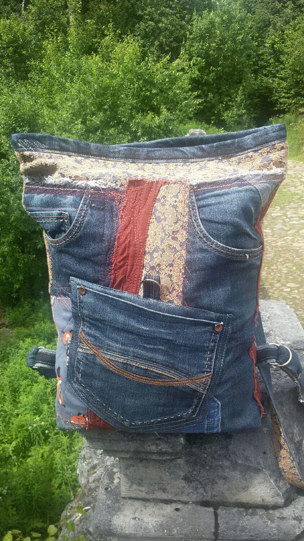 """Купить Рюкзак """" Пойдем гулять"""" - абстрактный, комбинированный, рюкзак женский, рюкзак джинсовый"""