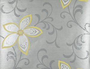 modern wallpaper patterns in grey, silver and yellow | Modern Flower Wallpaper Yellow Silver Grey Floral Wallpaper CHR11632 ...