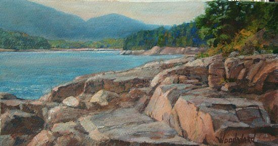 Otter Point, Acadia by Lori Woodward, acrylic on paper, 7 x 13.5.