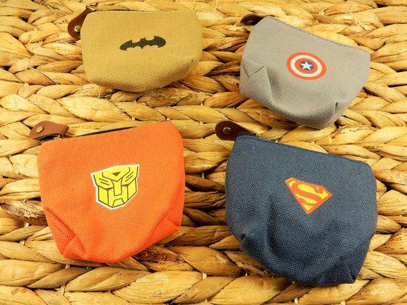 Superhero Coin Purses, Superman Wallet, Batman Coin Purse, Captain America Zip Purse, Transformers Zipper, Canvas Coin Wallet