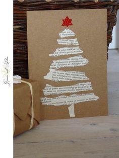 Papier kraft + page de vieux livres pour cette jolie carte de Noël - DIY…