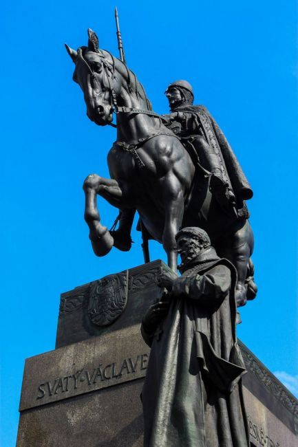 "Close up of the statue of St. Wenceslas (Svatý Václav) on his horse near the National Museum. The ""good king"" was murdered by his brother an..."