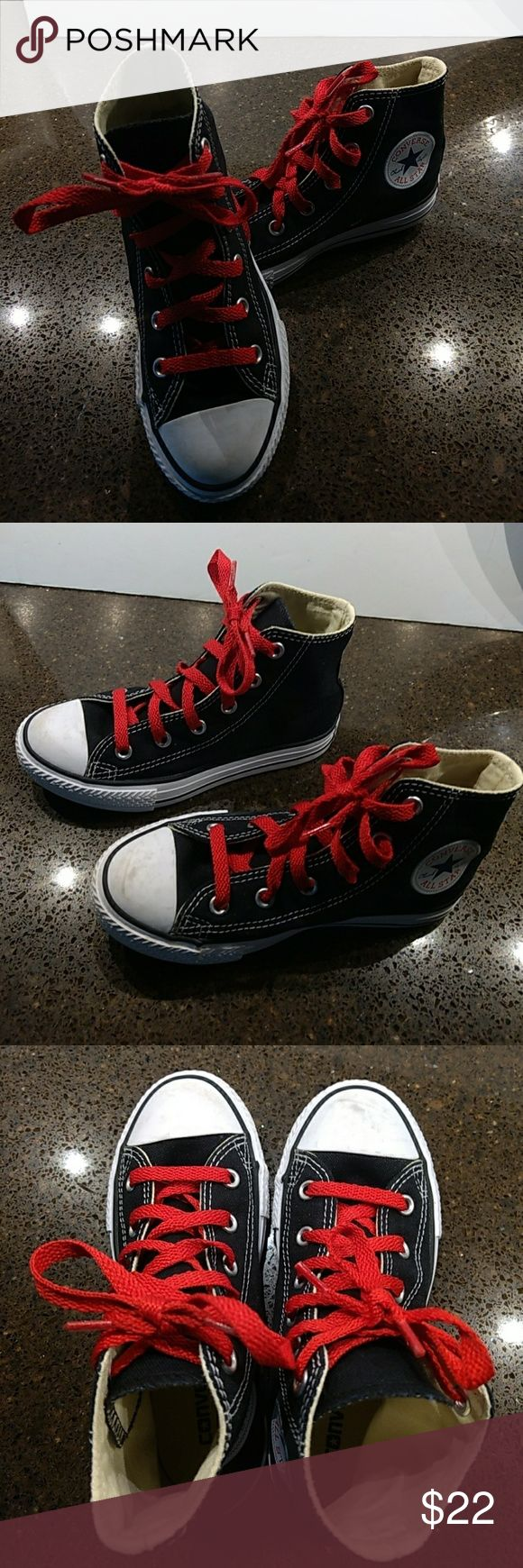 Boys Converse All Star high tops! Black all star high tops with red shoe laces. Excellent and almost new condition. Gently worn. Converse Shoes Sneakers