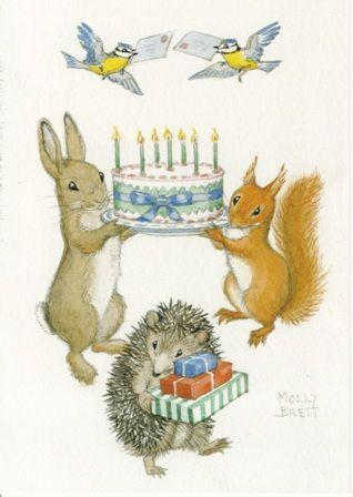 Dieren verjaardagsfeestje (K10-350) ansichtkaart