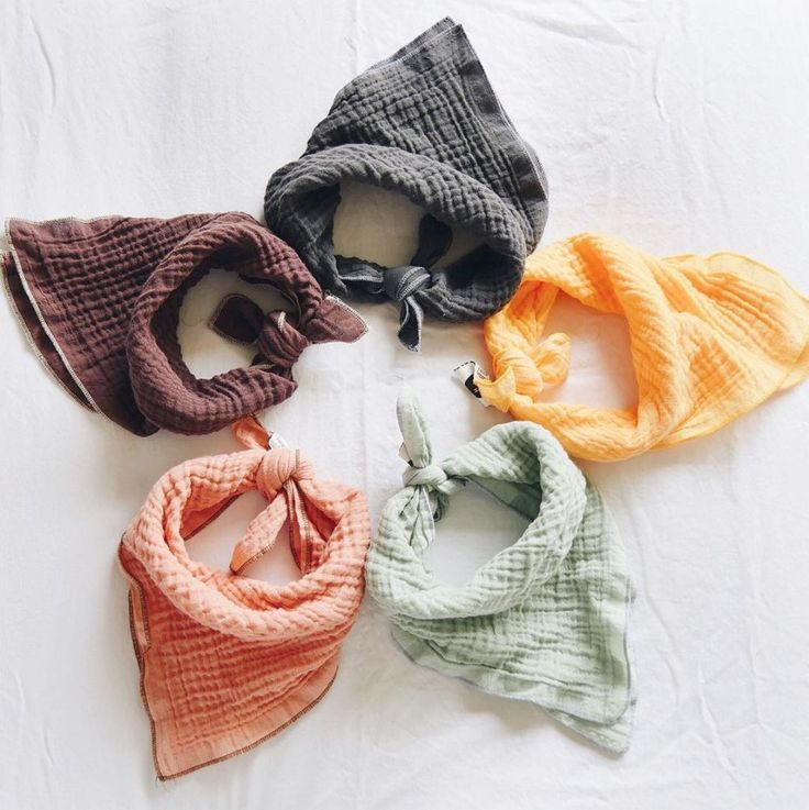 Organic baby scarves (or drool catchers/bibs/burp cloths!) in such pretty colours!
