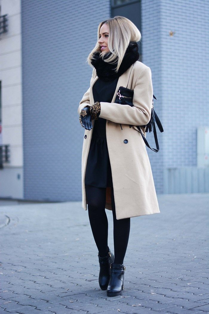 Magda is wearing a beige coat and black scarf and gloves from Reserved, black dress from Land Fashion, ankle boots from Czasnabuty #style