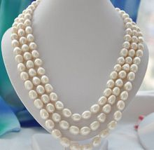 >> Click to Buy << natural pearl natural jewelry 3strands9-10mm rice white Freshwater cultured pearl necklace Bridal silver hook #Affiliate