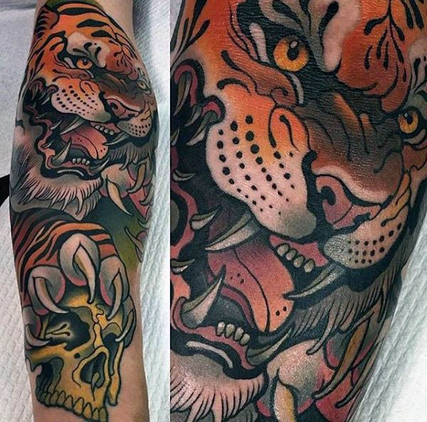Blood Thirsty Tiger And Skull Neo Traditional Tattoo Male Forearms
