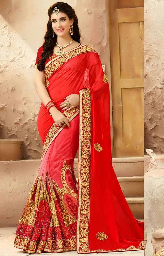 #Red #Net #Indian #Bridal #Saree with Blouse