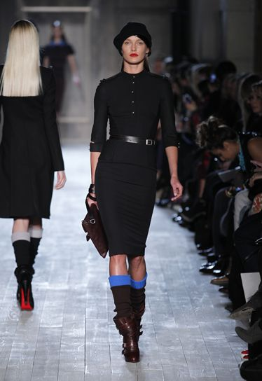 Black double crepe officer collar fitted dress....Victoria Beckham AW/12