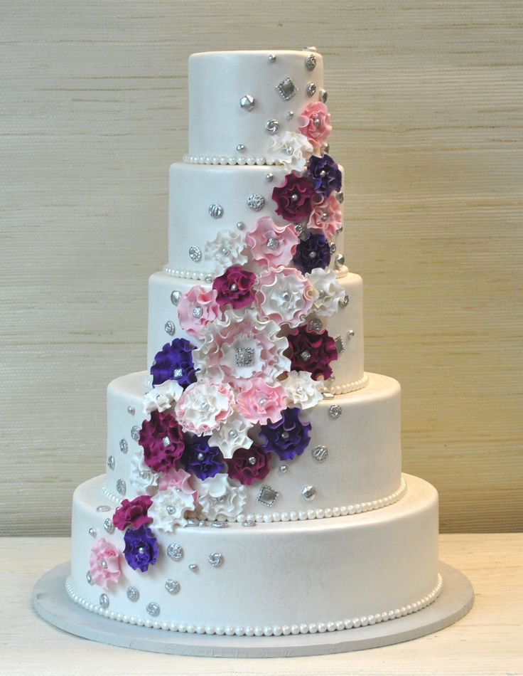 Extraordinary 5 Tier Wedding Cake With Fantasy Ruffled Gum Paste Flowers And Silver Vintage