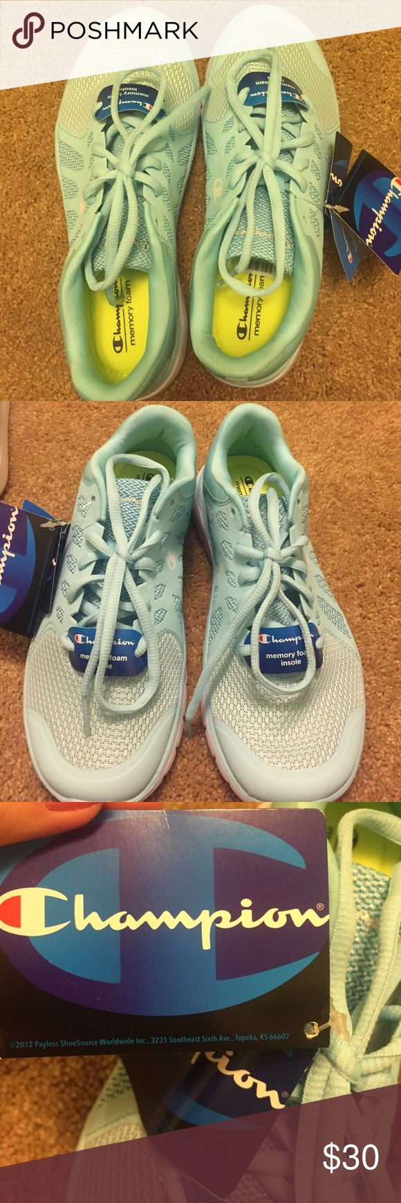 NWT memory foam sneakers NWT memory foam sneakers, never worn. Beautiful sky blue color! They're so comfortable they're just too small for me! Champion Shoes Sneakers
