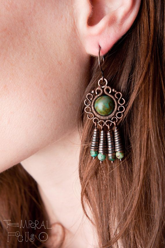 Wire wrapped dangly tribal copper earrings  with african turquoise.
