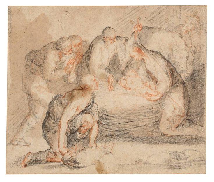 «Adoración nocturna a los Pastores», de José de Ribera. Lápiz negro y sanguina con aguada parda y gris con realces de blanco, principios de 1640