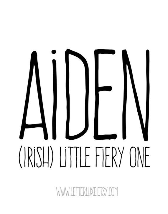 Aiden Name Meaning Art - Printable Baby Shower Gift - Nursery