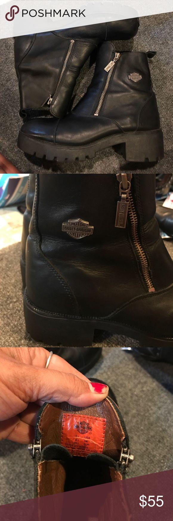 Harley Davison black leather boots Good condition. Harley Davidson leather boots. Broken in and ready to ride! Harley-Davidson Shoes Ankle Boots & Booties