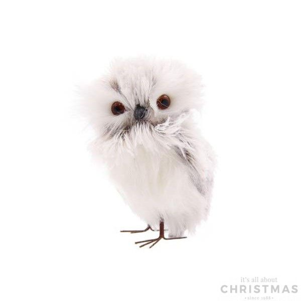 Owl with feathers - Silver/White