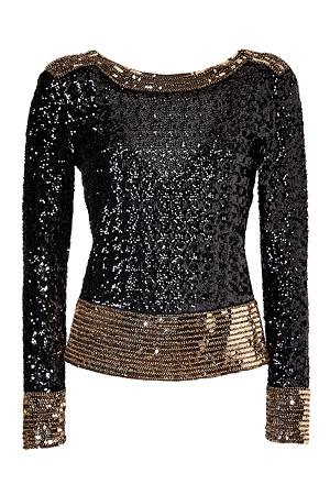 Allover Sequined V Back Top by BY MALENE BIRGER