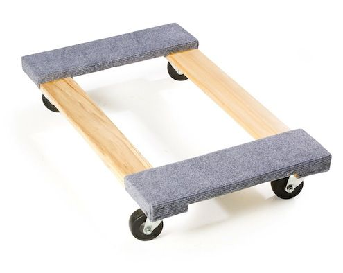 Tip of the Day: The next time you need to move something big and heavy, save your back and build yourself a workshop dolly. Make a rectangle with two-by-fours, using lap joints at the corners. Attach the casters just below the joints. You can also butt the joints together and add a sheet of scrap plywood over the top to give it stability. You can staple a little recycled carpet over the dolly to help keep loads from slipping off and to protect delicate finishes.
