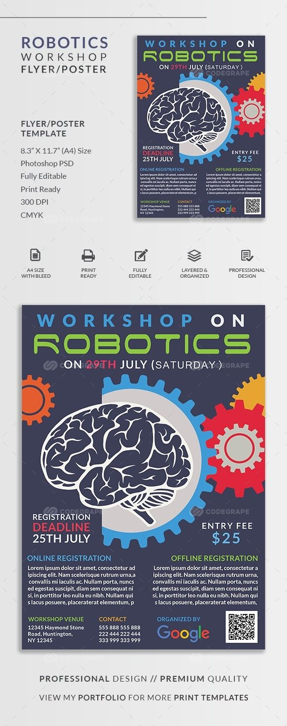 Robotics Workshop Flyer/Poster on @codegrape. More Info: https://www.codegrape.com/item/robotics-workshop-flyerposter/13592