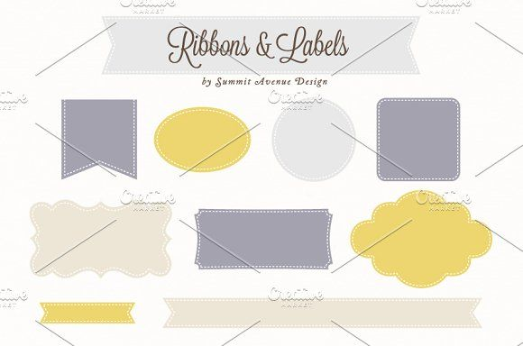 Ribbon & Label Shapes by Summit Avenue on @creativemarket
