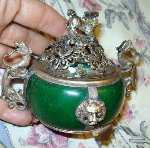 Antique Jade & Miao Silver Dragon Inscense burner,collectible | Etherics -  on ArtFire