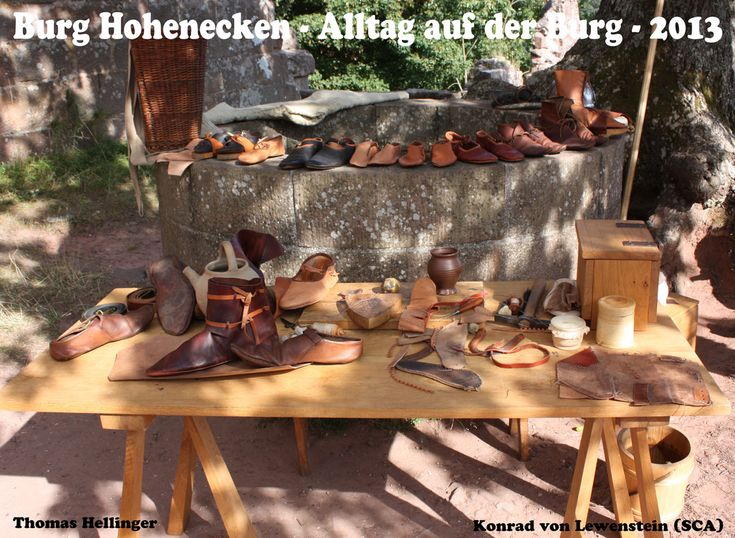 Living History event 2013 on castle Hohenecken near Kaiserslautern in Germany. The shoemaker´s workplace